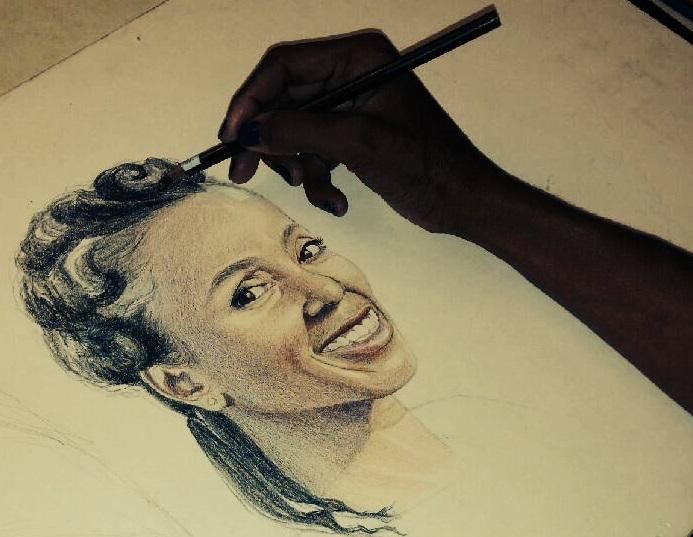 Portrait-of-the-Artist-Colored-Pencil by Carla Keaton Fine Arts in Tempe, Arizona